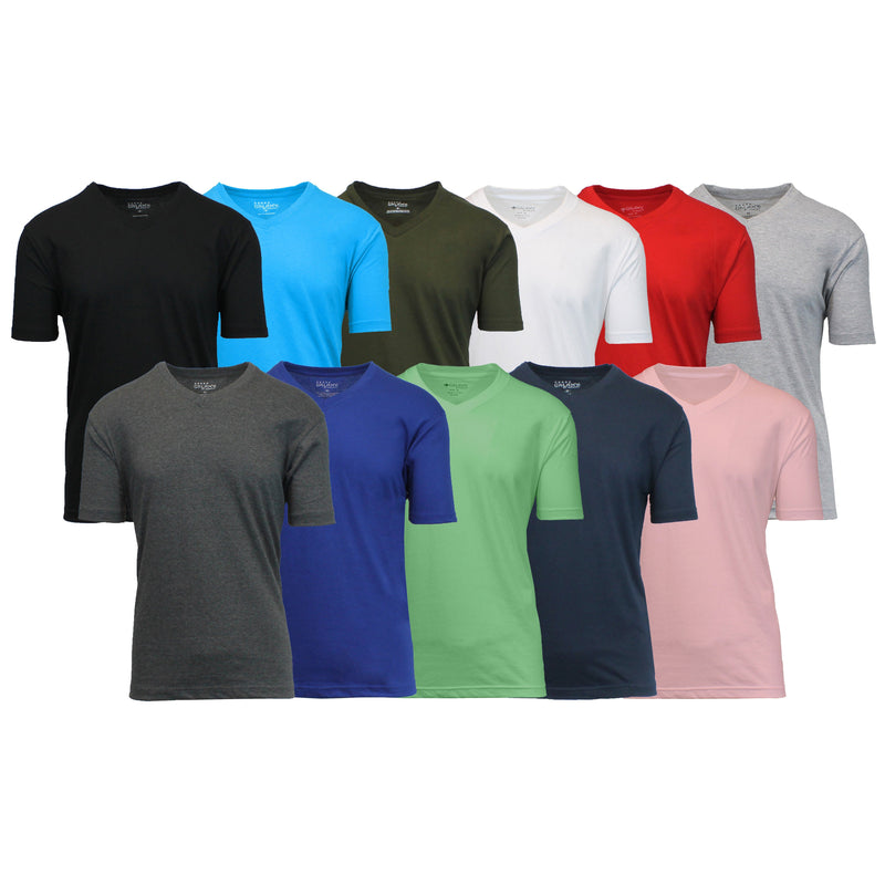 6-Pack: Men's Assorted Short Sleeve V-Neck Tees Men's Clothing S - DailySale
