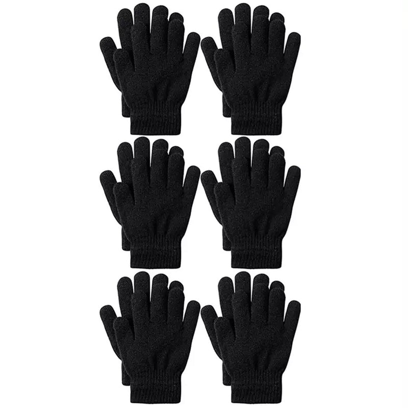 6-Pack: Men's Basic Knit Solid Color Warm Magic Gloves Men's Accessories Black - DailySale