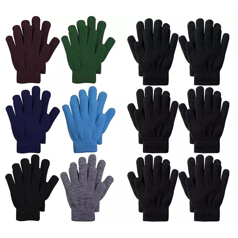 6-Pack: Men's Basic Knit Solid Color Warm Magic Gloves Men's Accessories - DailySale