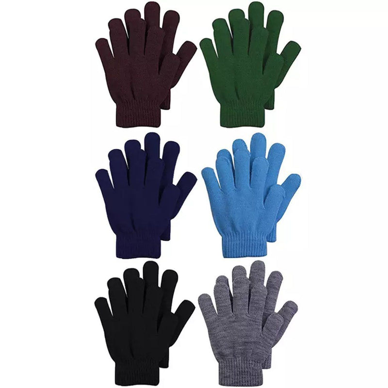 6-Pack: Men's Basic Knit Solid Color Warm Magic Gloves Men's Accessories Multi-color - DailySale