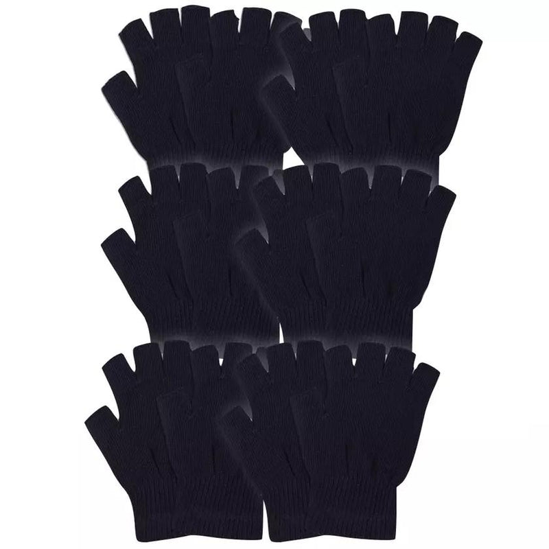6-Pack: Men's Warm Fingerless Black Winter Gloves Men's Accessories - DailySale