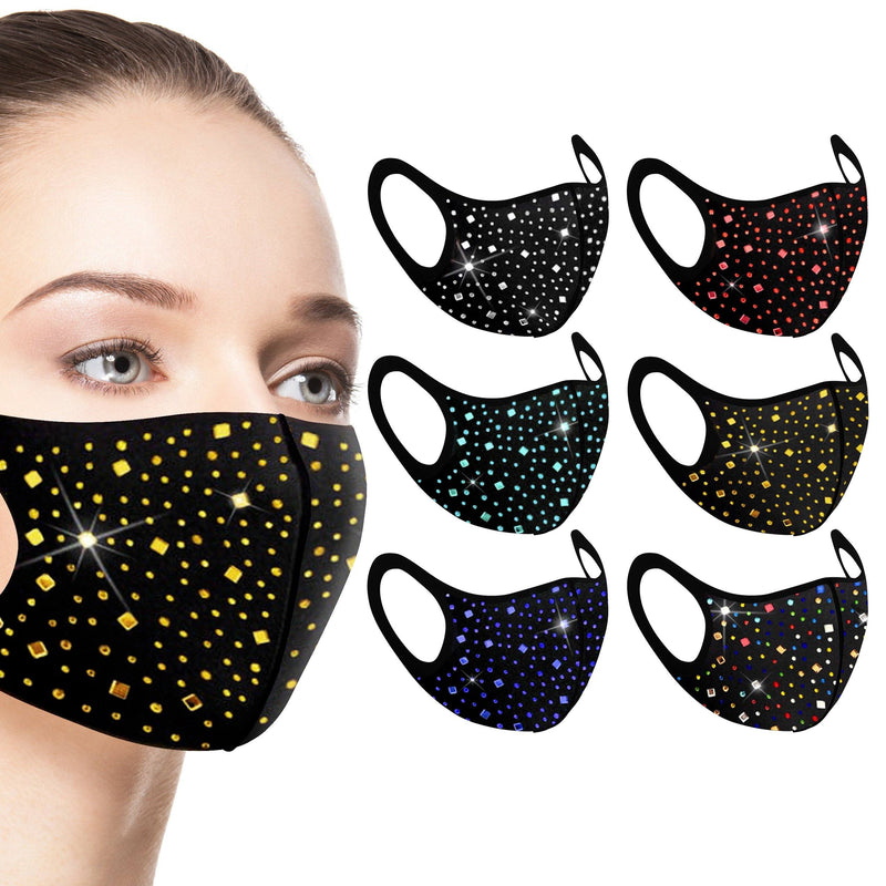 6-Pack: Rhinestone Bling Face Mask Face Masks & PPE - DailySale
