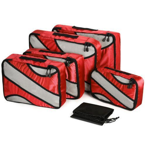 6-Pack: Travel Suitcase Storage Bag Set Bags & Travel Red - DailySale