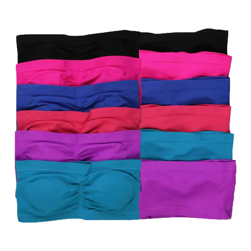 6-Pack: Women's Padded Bandeau Strapless Tube Bras Women's Clothing Classic Tube Bras S/M - DailySale