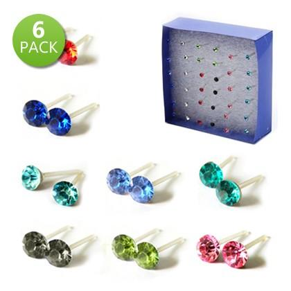 6-Pairs: Crystal Stud Earrings on Acrylic Hypoallergenic Posts Jewelry - DailySale