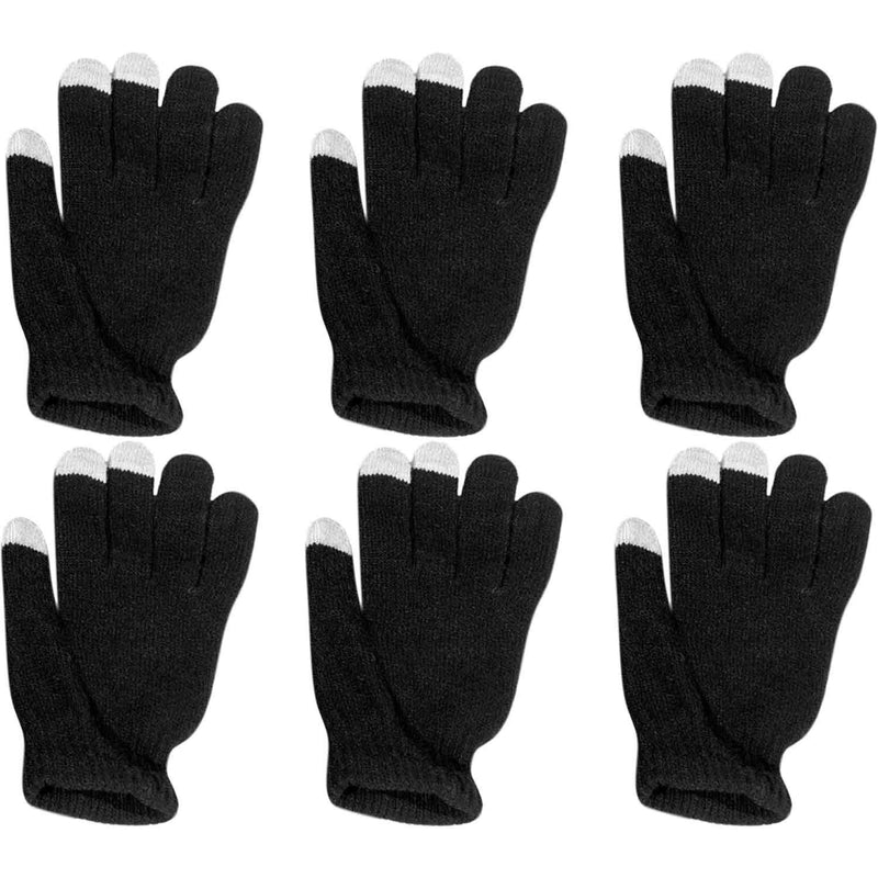 6 Pairs: Unisex Touchscreen Ultra-Soft & Comfy Gloves - Assorted Colors Women's Apparel Black - DailySale