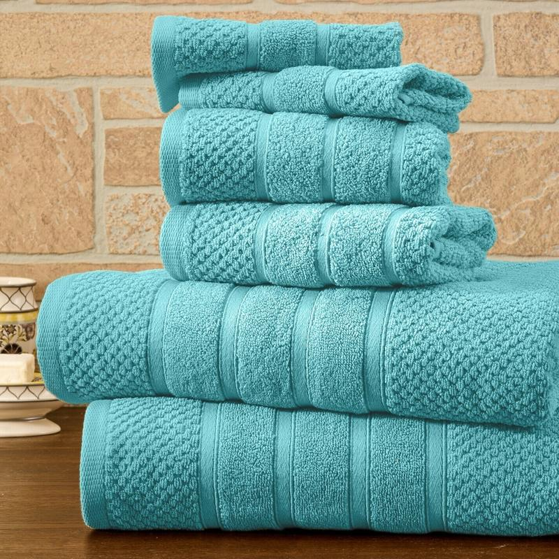 6-Piece Bibb Home Absorbent 100% Egyptian Cotton Towel Set Home Essentials Aqua Popcorn - DailySale
