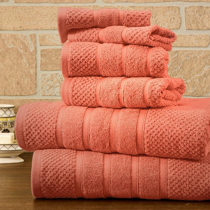 6-Piece Bibb Home Absorbent 100% Egyptian Cotton Towel Set Home Essentials Coral Popcorn - DailySale