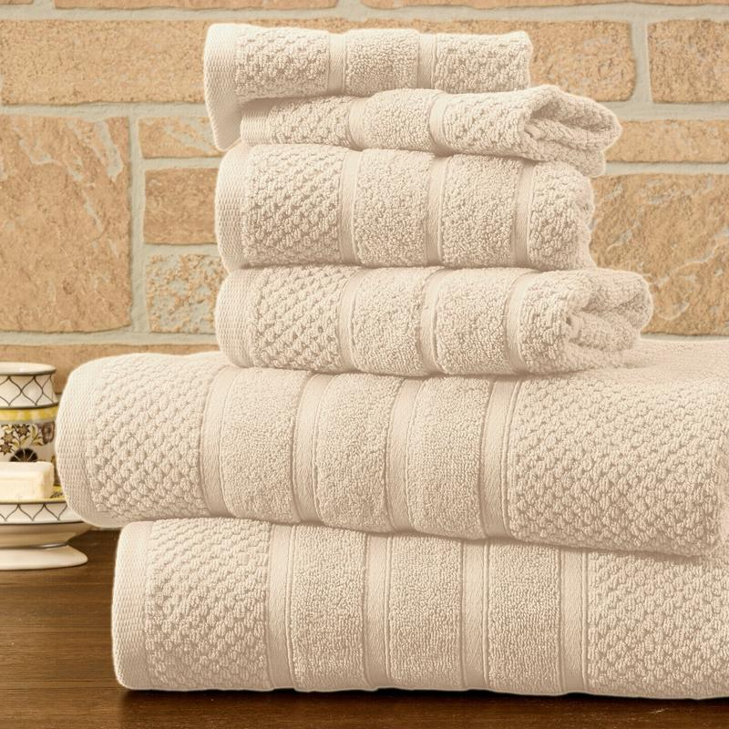 6-Piece Bibb Home Absorbent 100% Egyptian Cotton Towel Set Home Essentials Ivory Popcorn - DailySale