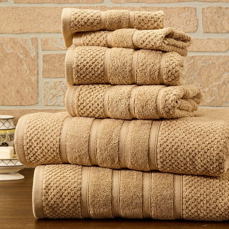 6-Piece Bibb Home Absorbent 100% Egyptian Cotton Towel Set Home Essentials Linen Popcorn - DailySale