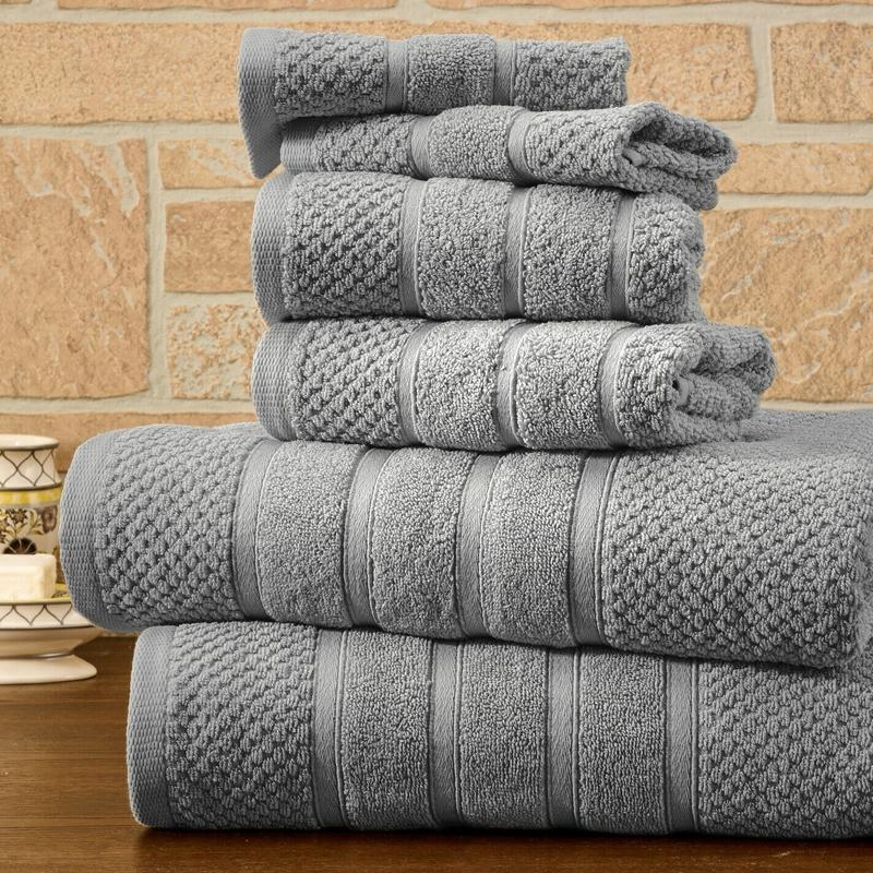 6-Piece Bibb Home Absorbent 100% Egyptian Cotton Towel Set Home Essentials Silver Popcorn - DailySale