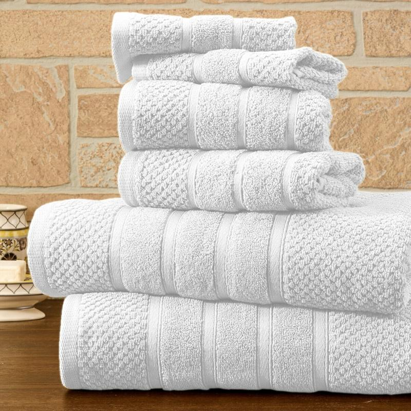 6-Piece Bibb Home Absorbent 100% Egyptian Cotton Towel Set Home Essentials White Popcorn - DailySale