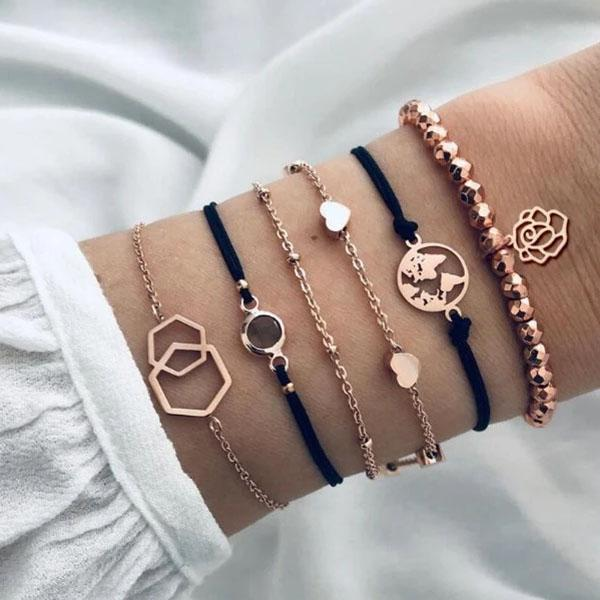 6-Piece: Chemist Around the World Rose Gold Bracelet Set Bracelets - DailySale