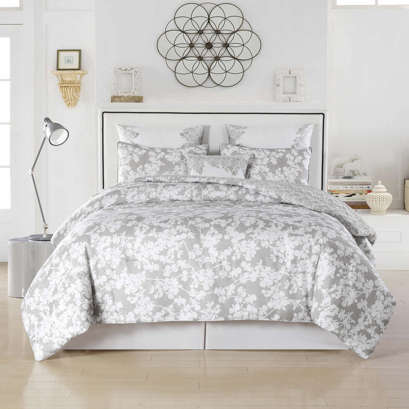 6-Piece: Kensie Oversized Queen Floral Comforter Set Bedding Gray - DailySale