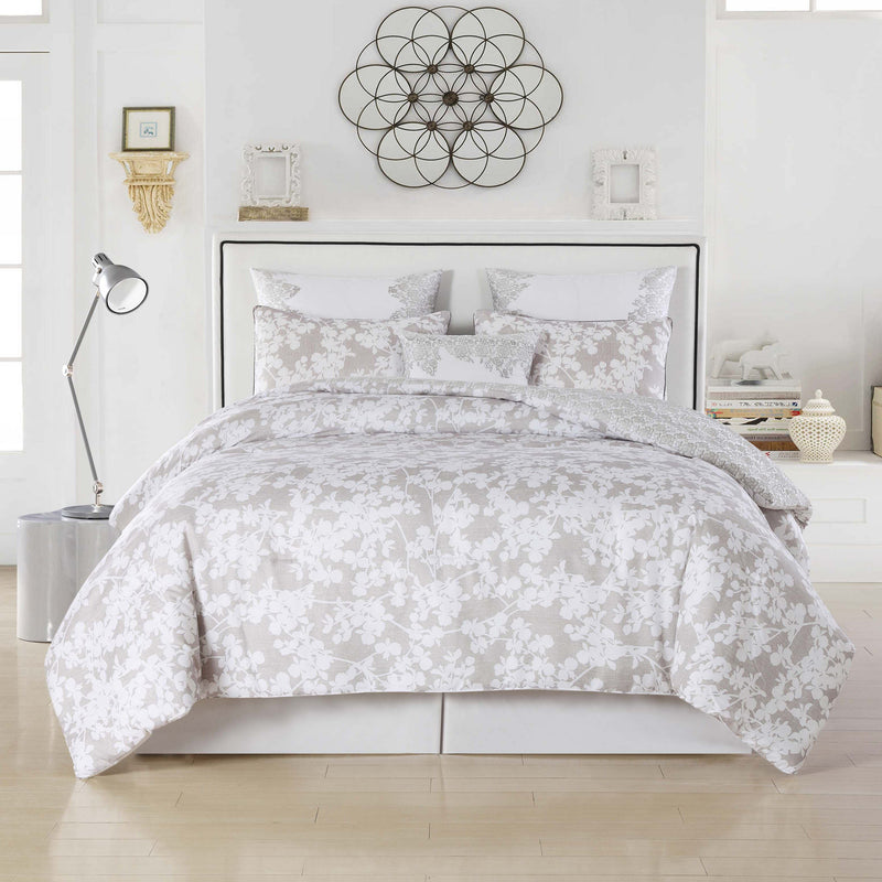 6-Piece: Kensie Oversized Queen Floral Comforter Set Bedding Taupe - DailySale
