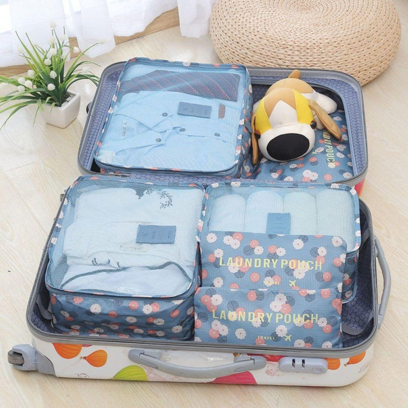 6-Piece Luggage Organizer - Assorted Colors Handbags & Wallets Blue - DailySale
