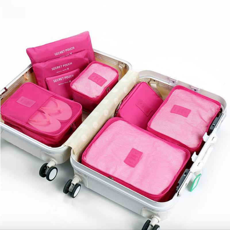 6-Piece Luggage Organizer - Assorted Colors Handbags & Wallets Pink - DailySale