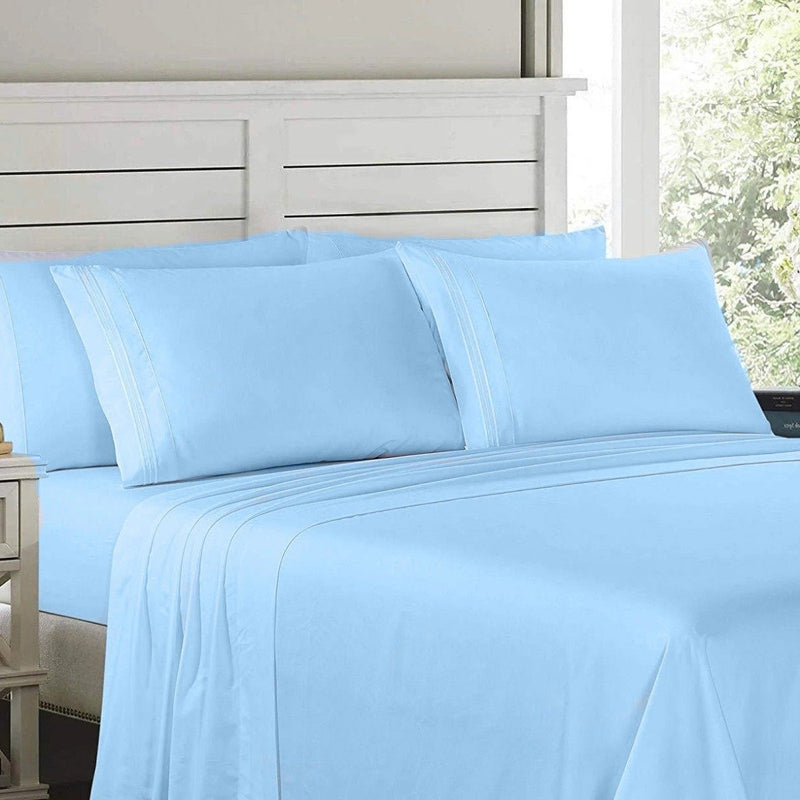 6-Piece: Lux Decor Collection 1800 Series Sheets Set Linen & Bedding Full Blue - DailySale