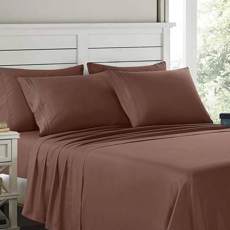 6-Piece: Lux Decor Collection 1800 Series Sheets Set Linen & Bedding Full Chocolate - DailySale