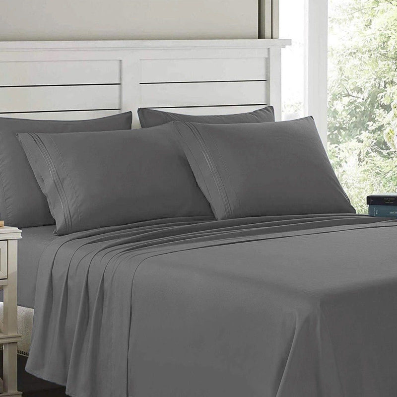 6-Piece: Lux Decor Collection 1800 Series Sheets Set Linen & Bedding Full Dark Gray - DailySale