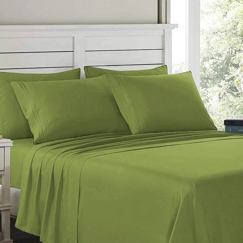 6-Piece: Lux Decor Collection 1800 Series Sheets Set Linen & Bedding Full Green - DailySale