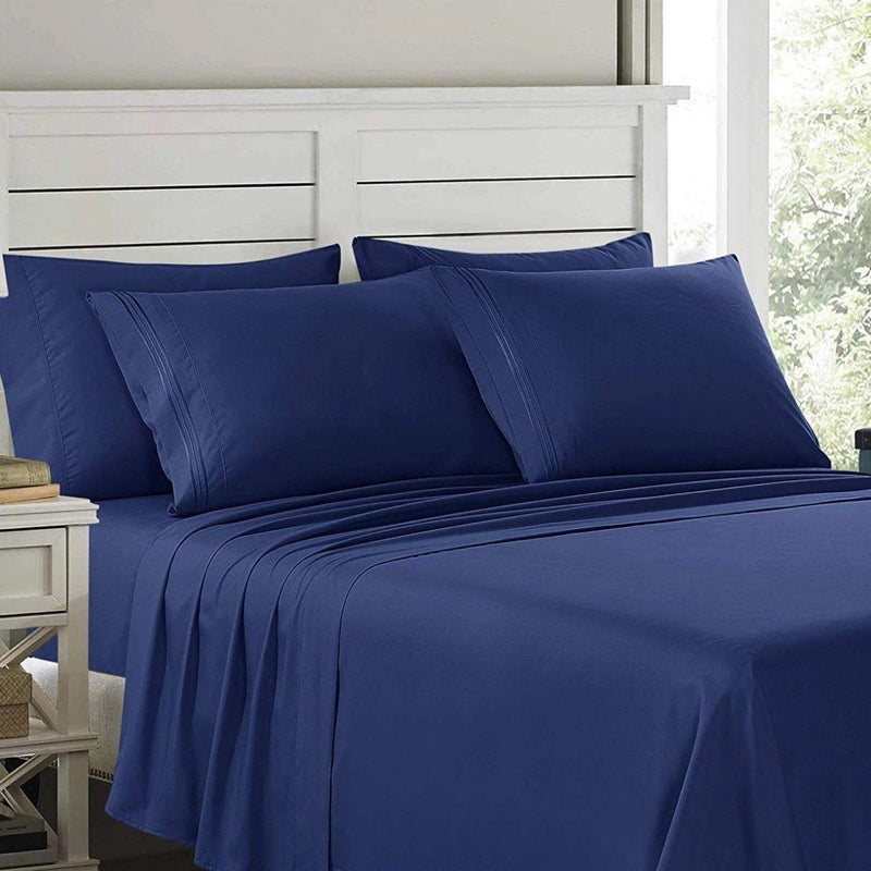 6-Piece: Lux Decor Collection 1800 Series Sheets Set Linen & Bedding Full Navy Blue - DailySale