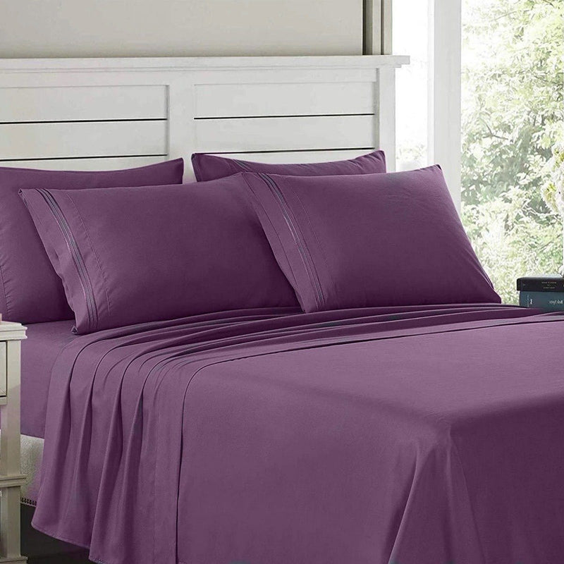 6-Piece: Lux Decor Collection 1800 Series Sheets Set Linen & Bedding Full Purple - DailySale
