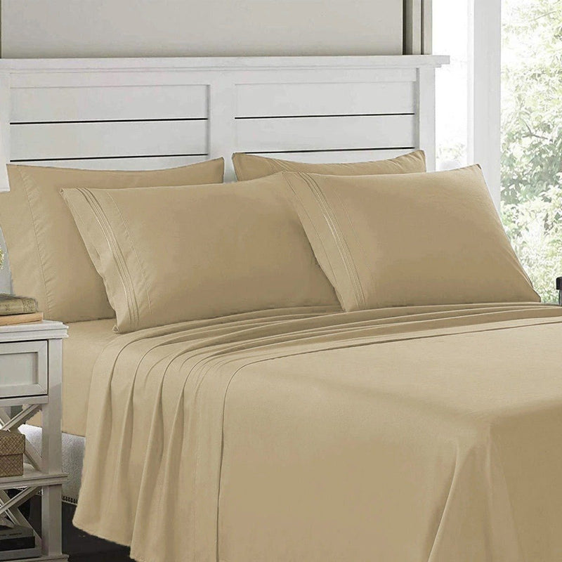 6-Piece: Lux Decor Collection 1800 Series Sheets Set Linen & Bedding Full Taupe - DailySale