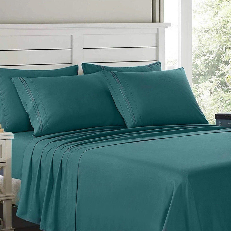 6-Piece: Lux Decor Collection 1800 Series Sheets Set Linen & Bedding Full Teal - DailySale