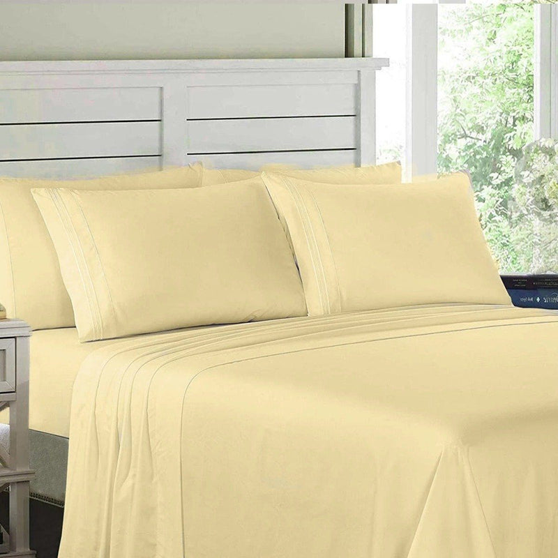 6-Piece: Lux Decor Collection 1800 Series Sheets Set Linen & Bedding Full Vanilla - DailySale
