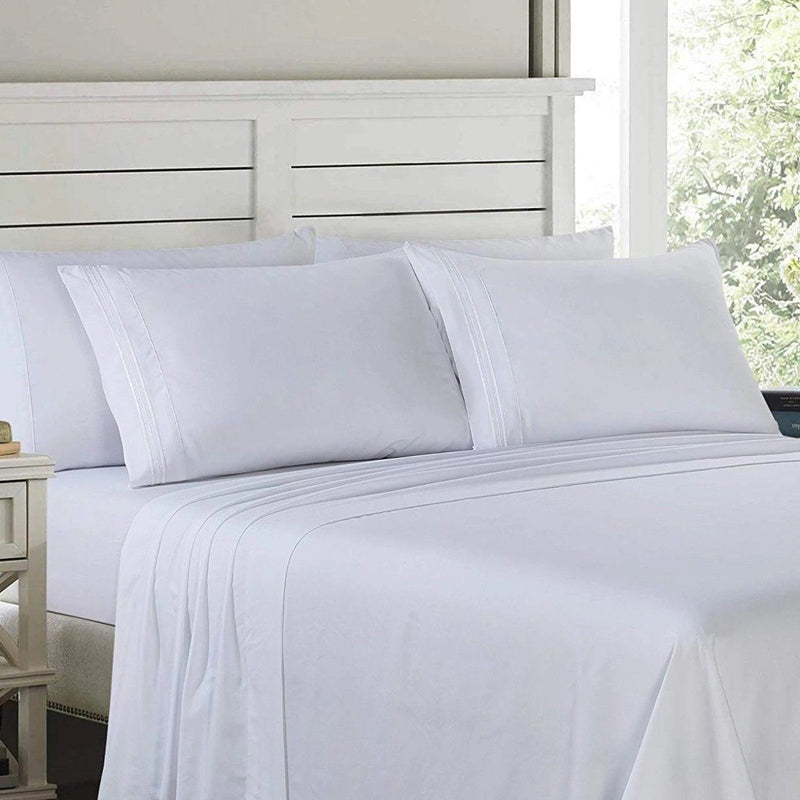 6-Piece: Lux Decor Collection 1800 Series Sheets Set Linen & Bedding Full White - DailySale