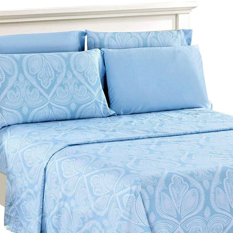 6-Piece Set: Paisley Bed Sheets - Assorted Sizes Linen & Bedding Twin Blue - DailySale