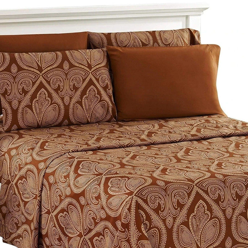 6-Piece Set: Paisley Bed Sheets - Assorted Sizes Linen & Bedding Twin Chocolate - DailySale