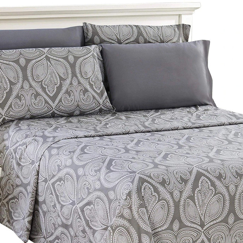 6-Piece Set: Paisley Bed Sheets - Assorted Sizes Linen & Bedding Twin Gray - DailySale