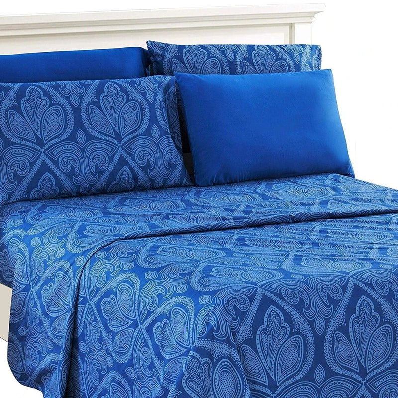 6-Piece Set: Paisley Bed Sheets - Assorted Sizes Linen & Bedding Twin Navy Blue - DailySale