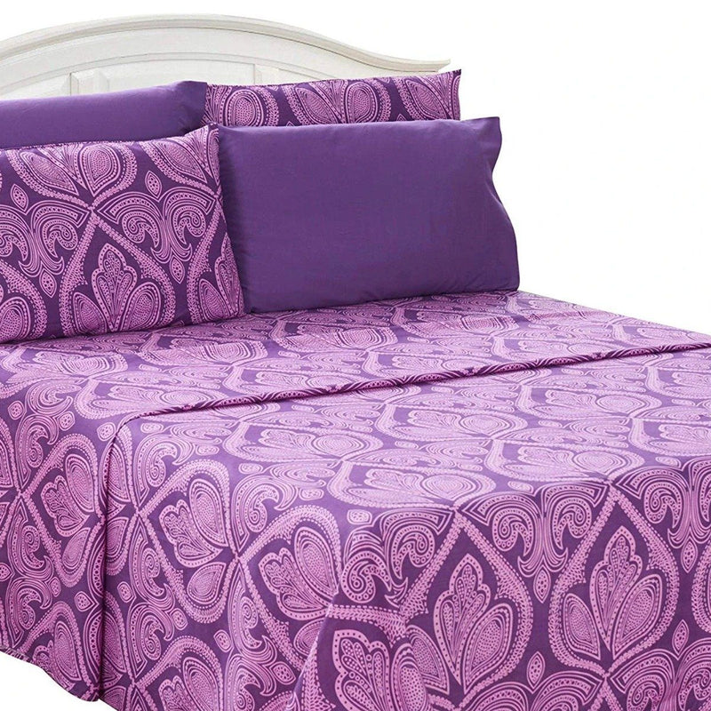 6-Piece Set: Paisley Bed Sheets - Assorted Sizes Linen & Bedding Twin Purple - DailySale