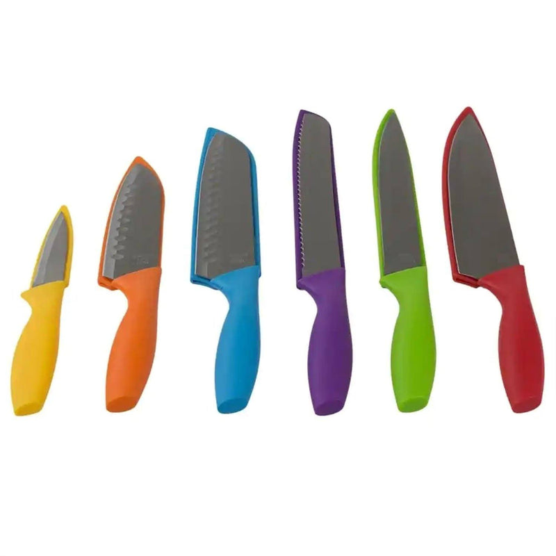 6-Piece Set: Sazon Stainless Steel Knife and Colorful Slip Covers Kitchen Essentials - DailySale
