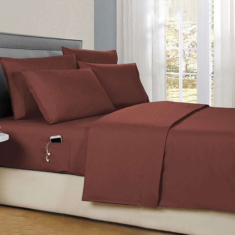 6-Piece: Solid with Side Pockets Sheet Set in Full Bedding Chocolate - DailySale