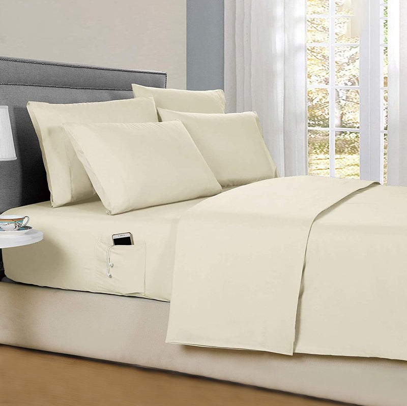 6-Piece: Solid with Side Pockets Sheet Set in Full Bedding Cream - DailySale