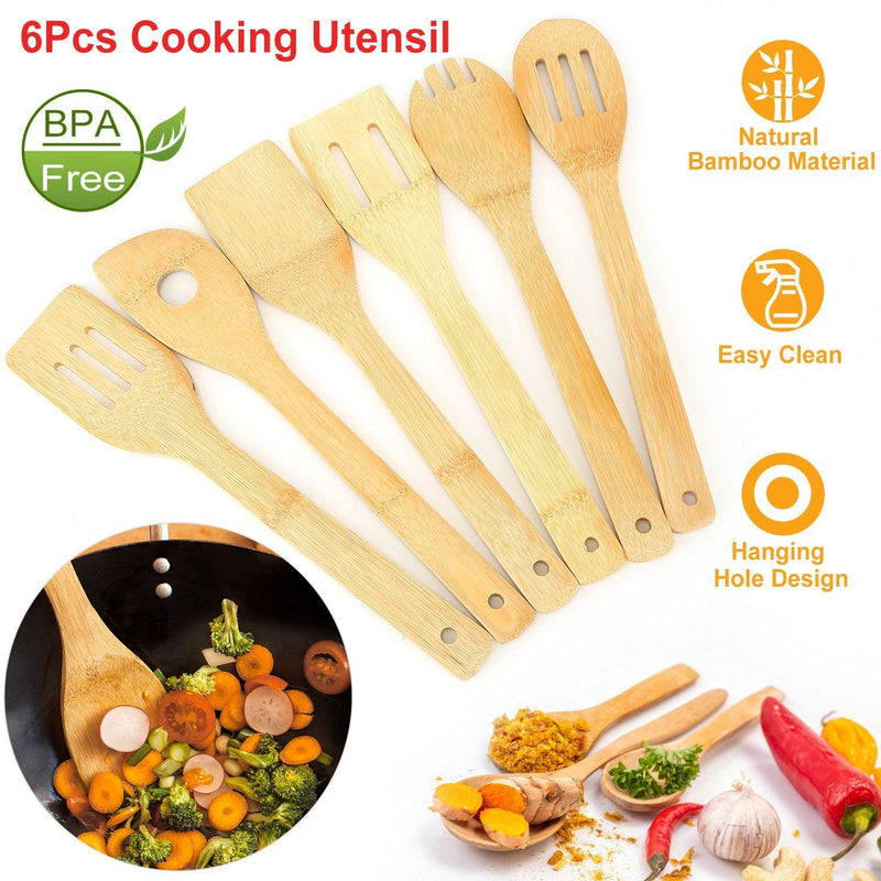 6-Pieces: Cooking Utensil Bamboo Wooden Spoons Kitchen & Dining - DailySale