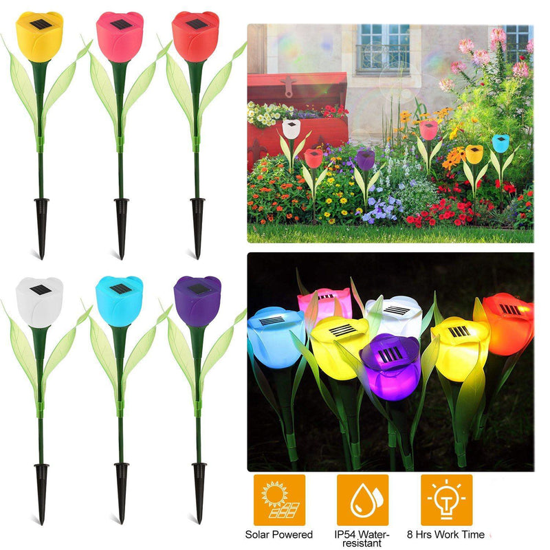 6-Pieces: Solar Garden Tulip Flower Lights Garden & Patio - DailySale