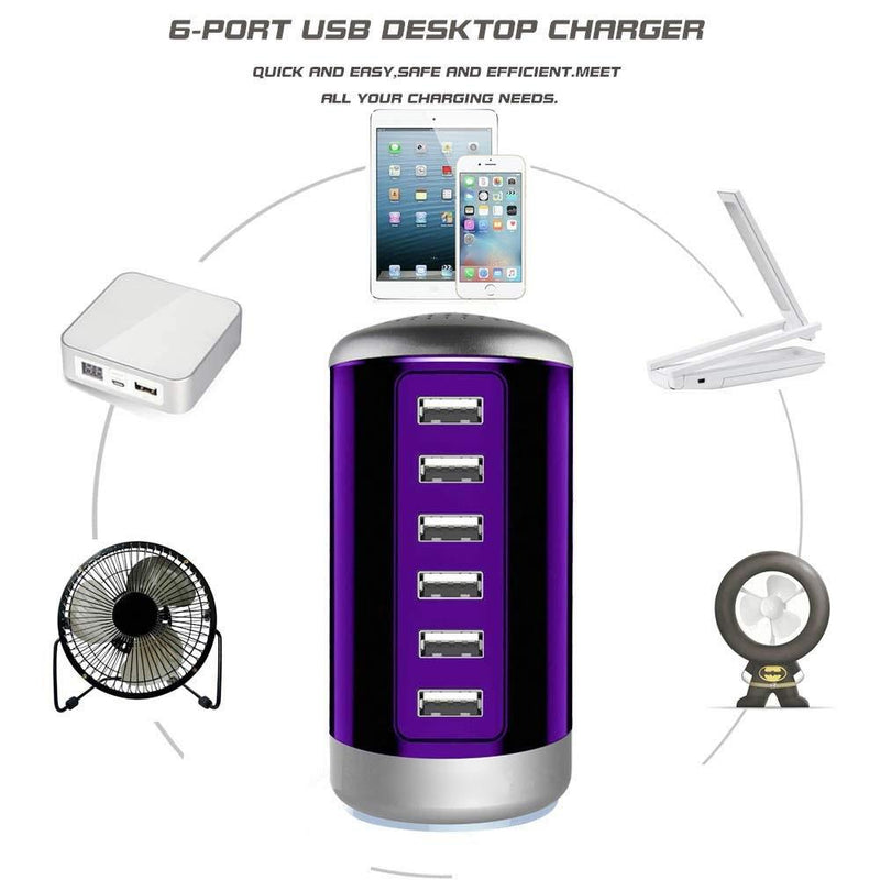 6 USB Port 30W Smart Charging Tower - Assorted Colors Gadgets & Accessories - DailySale