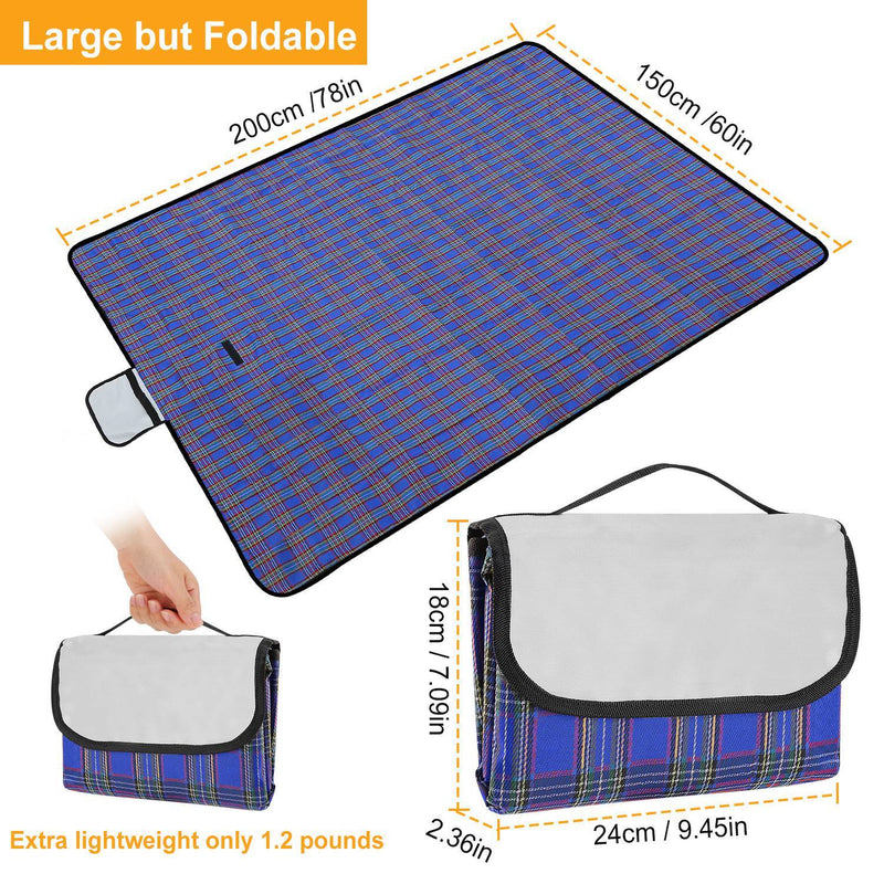 "60"" x 78"" Foldable Waterproof Picnic Blanket with Strap Sports & Outdoors - DailySale"