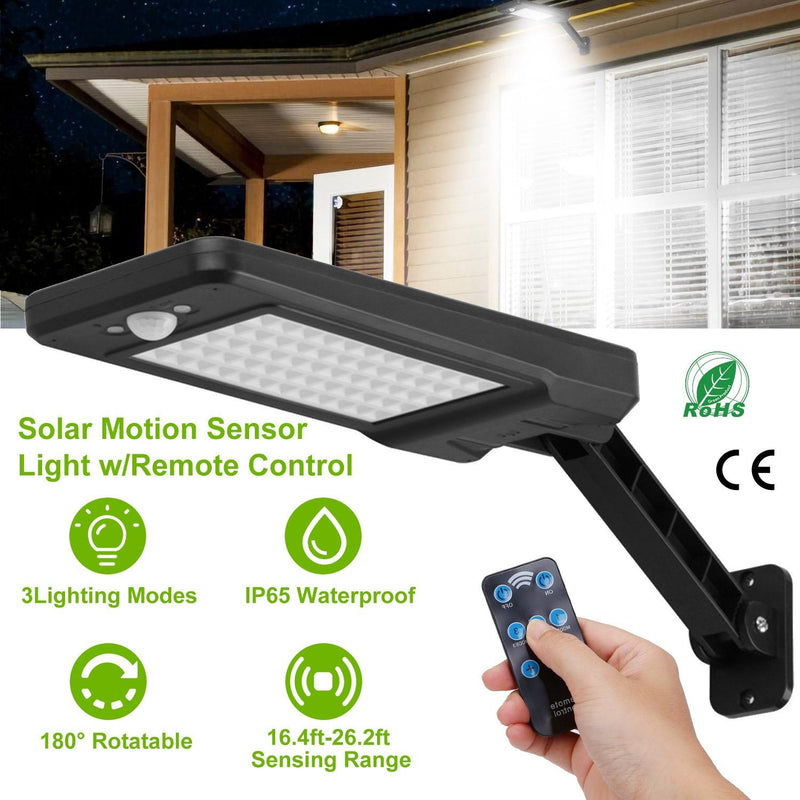 60LEDs Solar PIR Motion Sensor Remote Control Wireless Lamp Outdoor Lighting - DailySale