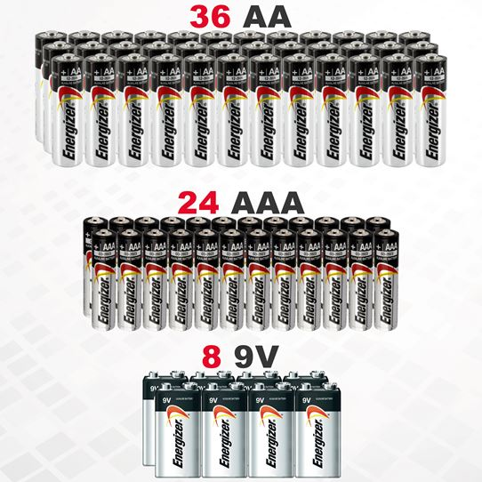 68-Pack: Bundle Of Energizer Batteries AA, AAA and 9V Gadgets & Accessories - DailySale