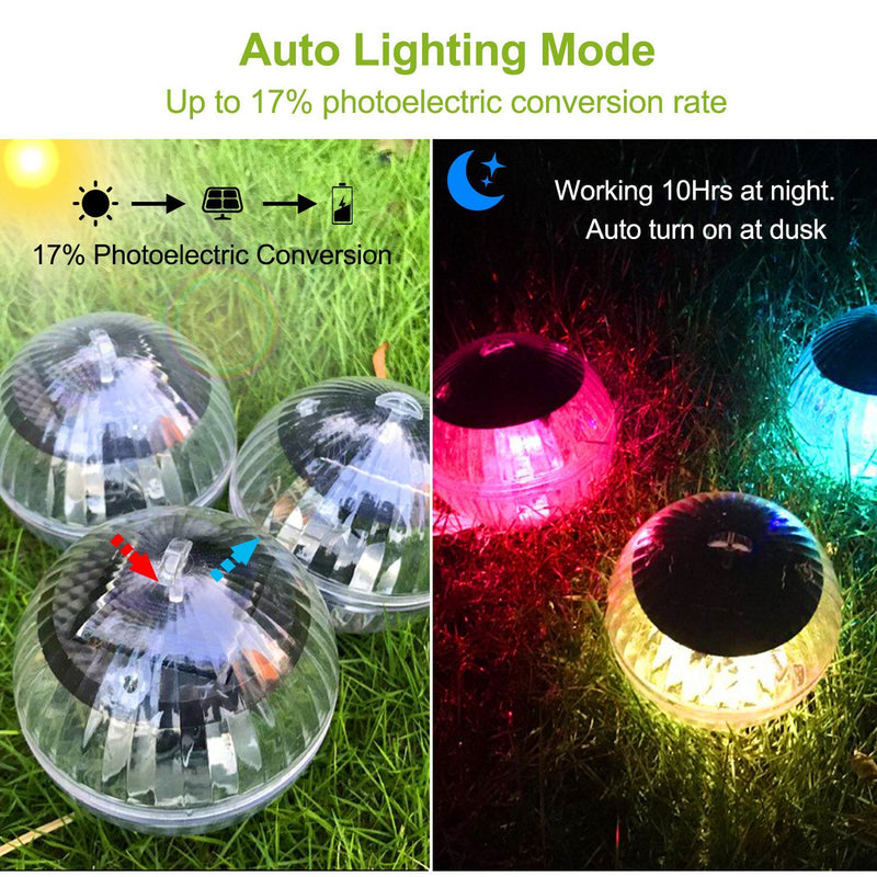7 Color Solar LED Floating Lights Outdoor Lighting - DailySale