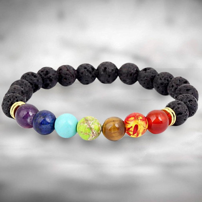 7 Genuine Chakra Healing Natural Stone Bead Bracelet Wellness & Fitness - DailySale