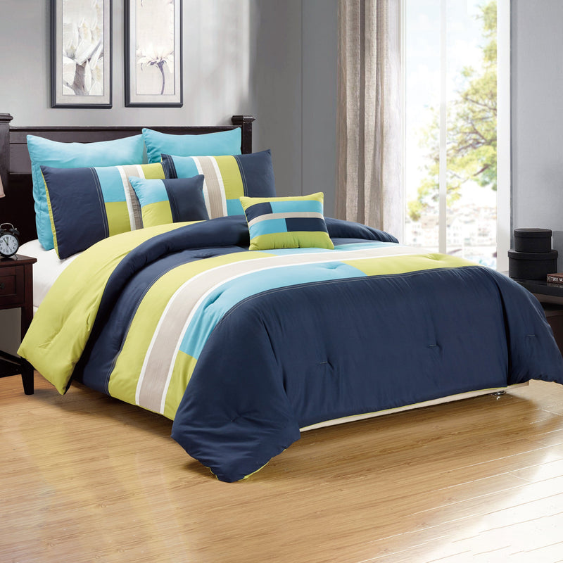 7-Piece: Luxury Bordered Queen Comforter Set
