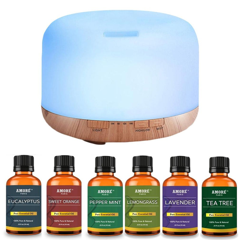 7-Piece Set: 5-in-1 Premium Ultrasonic Aromatherapy Diffuser with Essential Oil Wellness & Fitness - DailySale