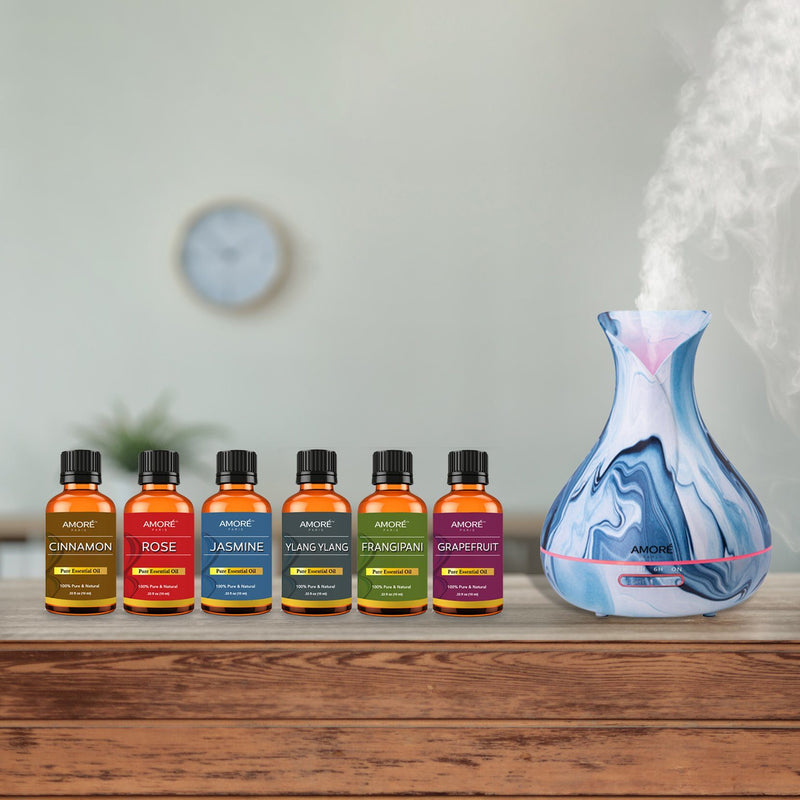 7-Piece Set: Hydro Dipped Ultrasonic Aromatherapy Diffuser With Essential Oil Gift Set